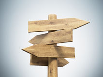Wooden direction sign Stock Photo