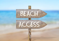Wooden direction sign with summer time Stock Photo