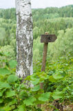 Wooden directional arrow sign of hiking trail Royalty Free Stock Images