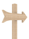 Wooden directional marker on a white background. Isolated 3D image Royalty Free Stock Image