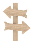 Wooden directional marker on a white background. Isolated 3D image Stock Photos