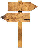Wooden Directional Sign - Two Arrows Stock Photography