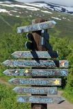 Wooden directions sign, Kungsleden, Sweden Royalty Free Stock Photos