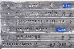 Wooden directions sign in winter in Finnish Lapland, Saariselka, Finland Stock Photos