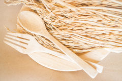 Wooden dish set and paddy rice Stock Images