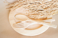 Wooden dish set and paddy rice Royalty Free Stock Photography