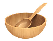 Wooden dish and spoon Stock Photo