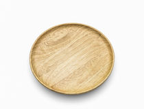 The wooden dish on white isolate. Top view the wooden dish on white isolate Stock Photo