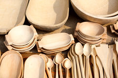 Wooden dishes Stock Photography