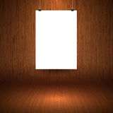 Wooden display background with blank hanging picture Royalty Free Stock Photography