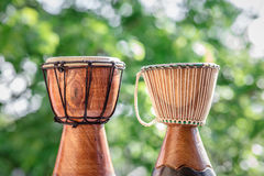 Wooden djembe drums Royalty Free Stock Images