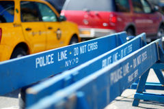 Wooden Do Not Cross police barriers in New York Royalty Free Stock Images