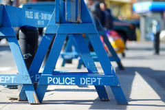 Wooden Do Not Cross police barriers in New York Stock Photo