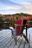 Wooden dock on autumn lake Royalty Free Stock Image