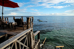 Wooden Dock. Bee farm resort in panglao bohol Royalty Free Stock Photo