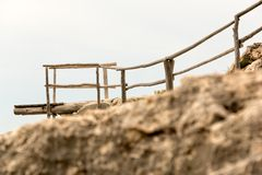Wooden dock at the cliff Stock Image