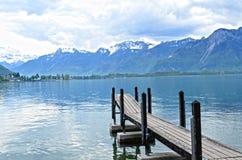 Wooden Dock in Geneva lake Stock Image