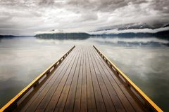 Wooden Dock on Harrison Lake, British Columbia, Canada Stock Images
