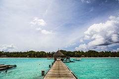 Wooden dock in Indian Ocean, Maldives Royalty Free Stock Images