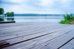 Wooden dock on the lake Stock Photo