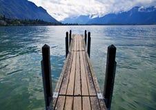 Wooden Dock in Lake Leman. Switzerland Royalty Free Stock Images