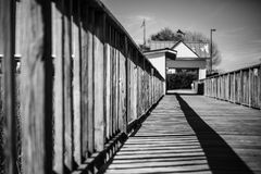 Wooden dock railing in Georgetown, South Carolina Royalty Free Stock Photo