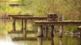 Wooden dock in summer sunny day Stock Image