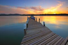Wooden Dock at Sunset View Royalty Free Stock Photo