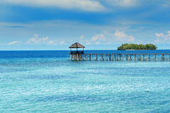 Wooden Dock on Togean Islands. Indonesia. Royalty Free Stock Photo