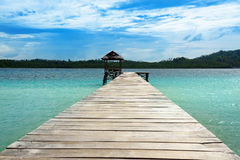 Wooden Dock on Togean Islands. Indonesia. Royalty Free Stock Images