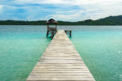 Wooden Dock on Togean Islands. Indonesia. Stock Image