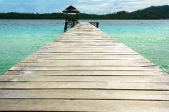 Wooden Dock on Togean Islands. Indonesia. Royalty Free Stock Photography