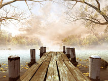 Wooden dock with tree branches. Wooden dock with leaves and tree branches Stock Photography