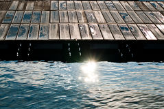 Wooden dock and water Royalty Free Stock Image