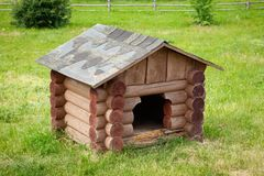 Wooden dog house  on green lawn. Wooden dog house  on summer green lawn royalty free stock photos