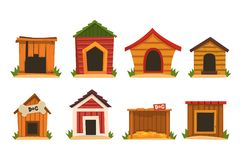 Free Wooden Dog House Set, Dogs Kennel Cartoon Vector Illustrations Royalty Free Stock Image - 130949976