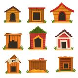 Wooden dog house set, dogs kennel cartoon vector Illustrations. On a white background Royalty Free Stock Image