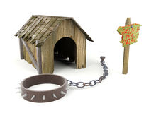 Wooden dog house with warning sign and pet collar. 3D Ruined wooden dog house with warning sign and pet collar with fetters isolated on white background Stock Image