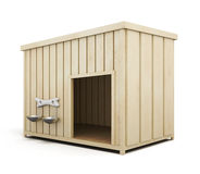 Wooden dog house  on a white background. 3d render image Royalty Free Stock Photo