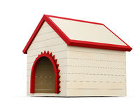 Wooden dog house  on white background. 3d render image Royalty Free Stock Photo