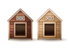 Wooden dog houses stock illustration