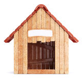 Wooden doghouse isolated on white background Stock Image
