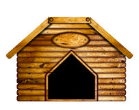 Wooden doghouse. Wooden doghouse over a white background Stock Photo