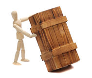 Wooden doll with big box Stock Image
