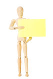Wooden doll with note Stock Photo