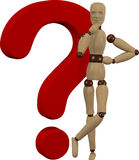Wooden doll and question mark Royalty Free Stock Image