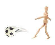 Wooden doll with soccer ball Stock Photography