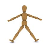 Wooden doll stands, arms and legs to the side Stock Images