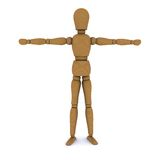 Wooden doll stands, hands to the sides Royalty Free Stock Images