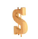 Wooden dollar sign Royalty Free Stock Image